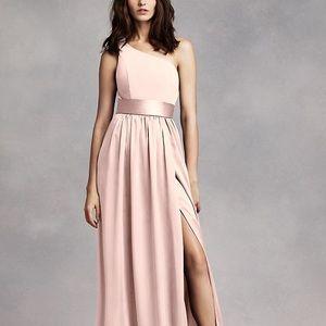 Vera Wang One shoulder Bridesmaid dress- Blush